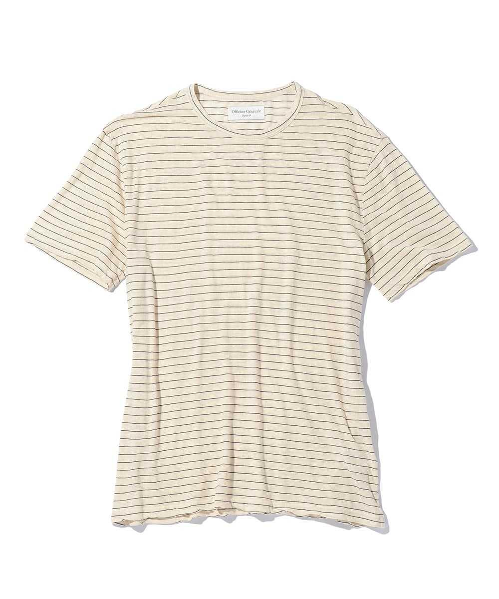 コットンリネンクルーネックTシャツ