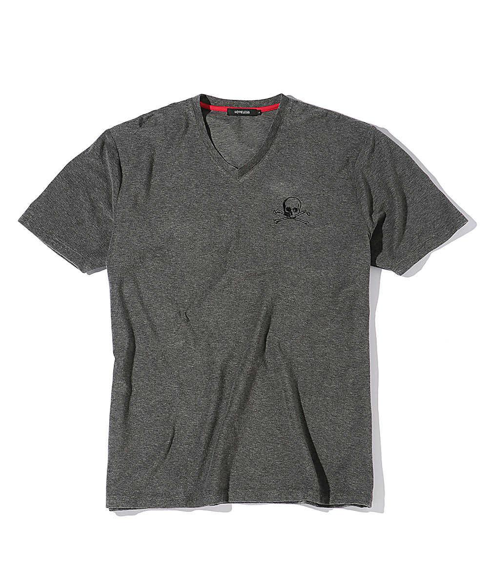 【別注商品】ボーンスカル パイルVネックTシャツ