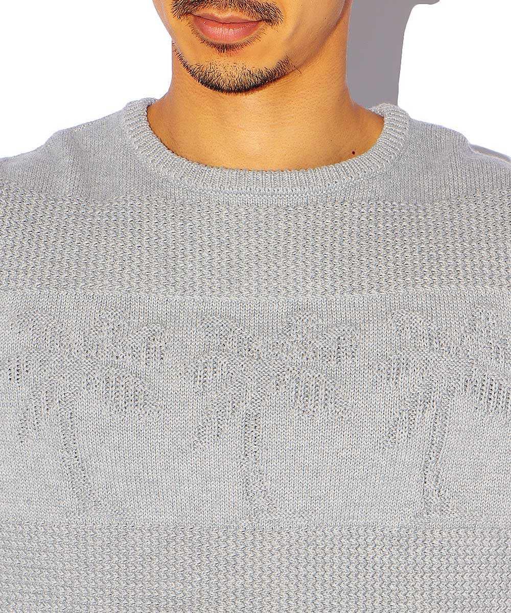 【別注・限定商品】パームツリー柄ニットクルーネックTシャツ