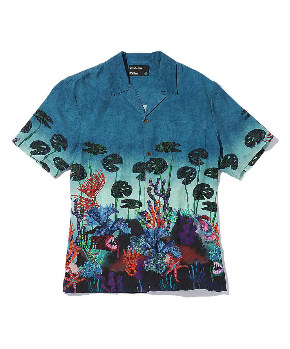 プリントオープンカラーシャツ