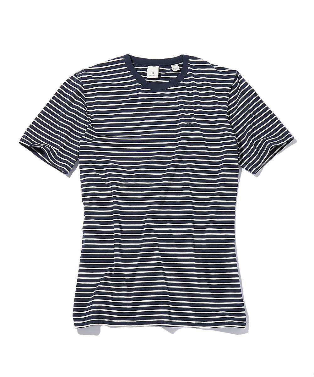 ワンポイントロゴボーダークルーネックTシャツ