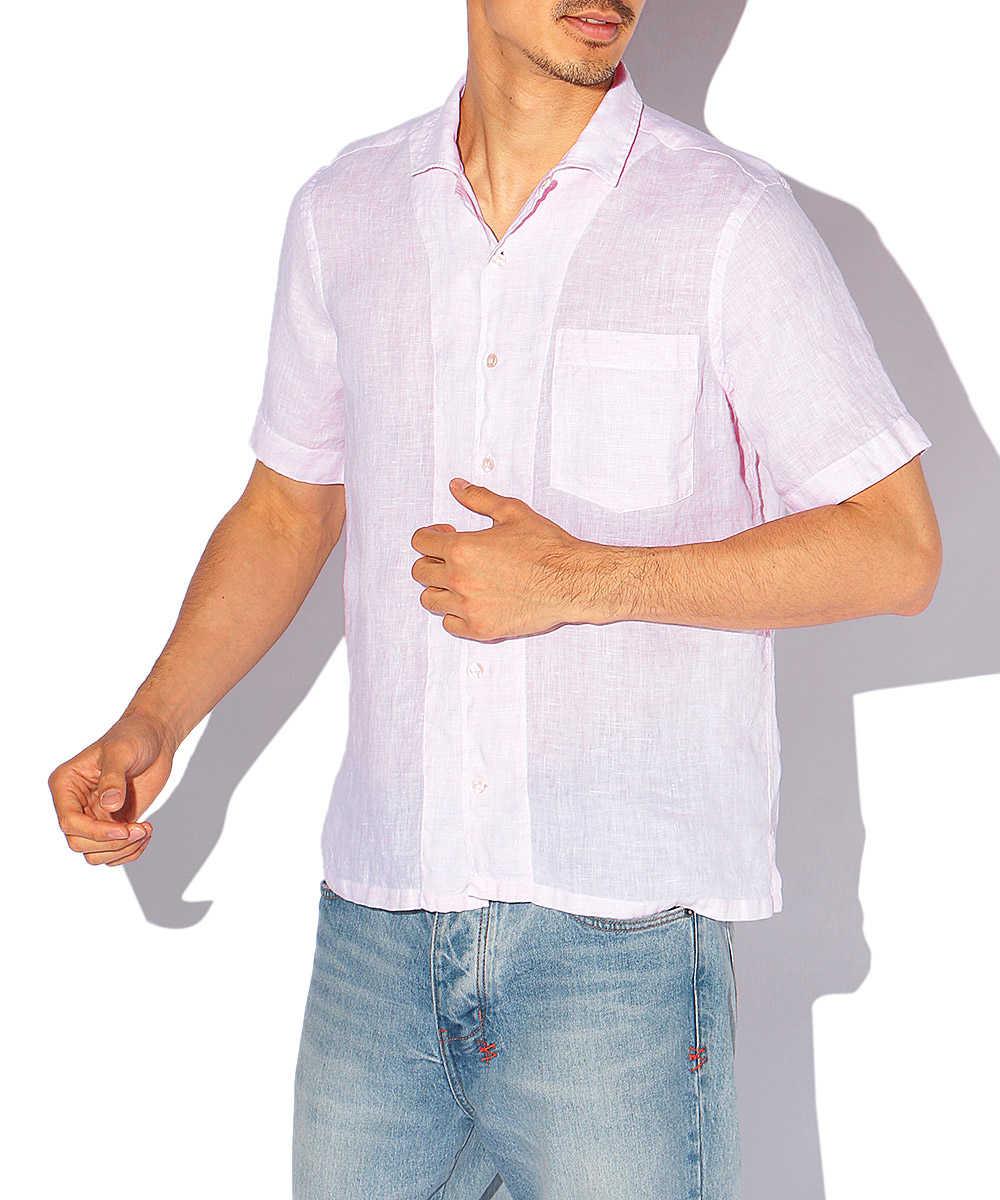 オープンカラーリネンシャツ