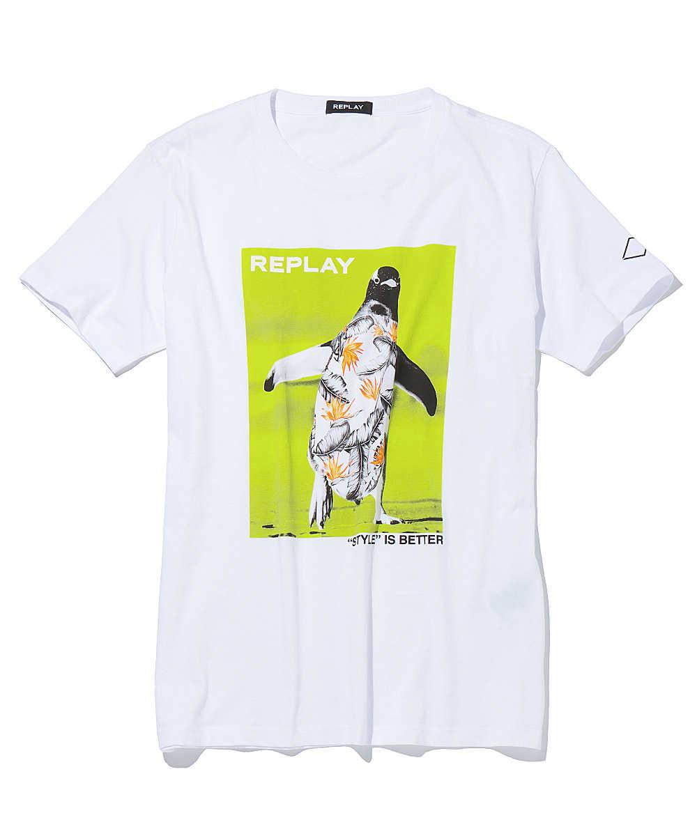 ペンギンプリントクルーネックTシャツ