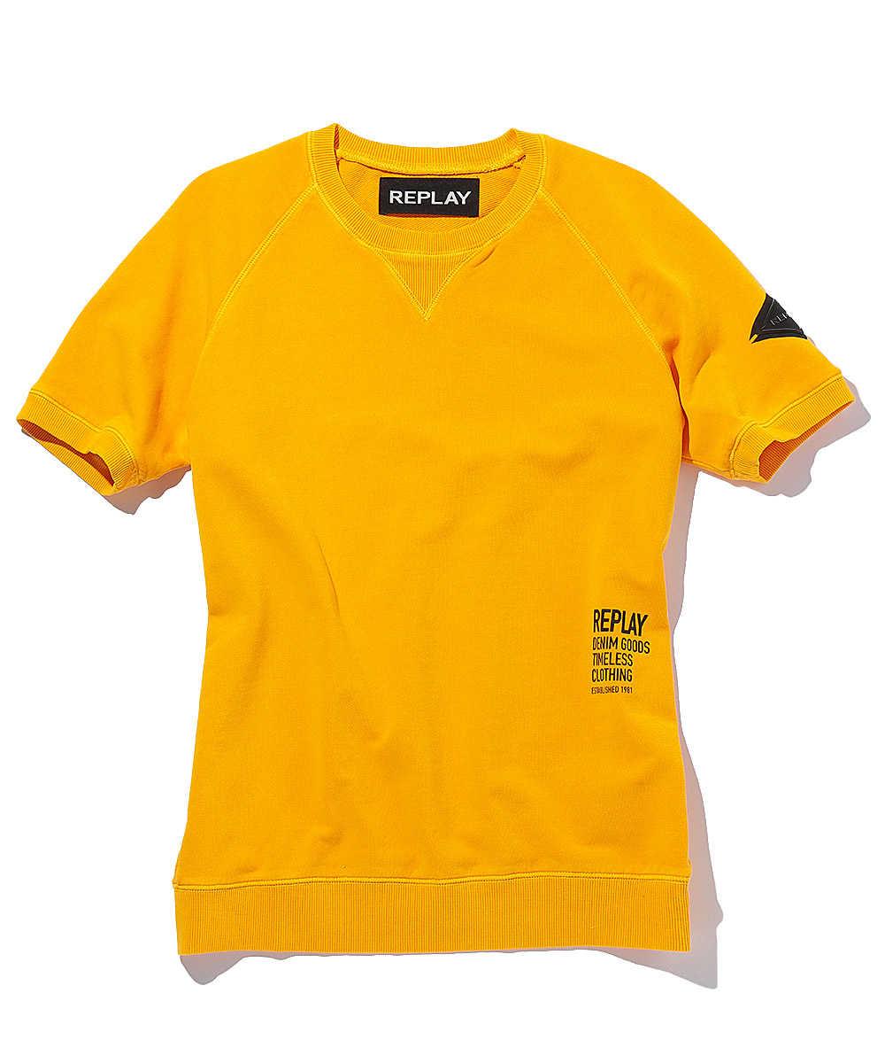 コットンスウェットクルーネックTシャツ