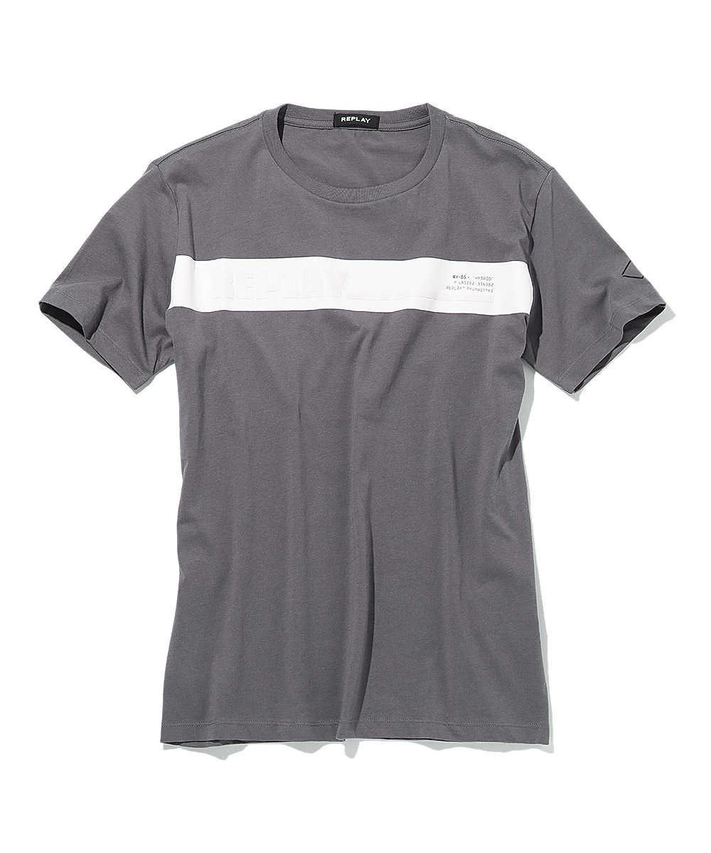 ロゴラインクルーネックTシャツ