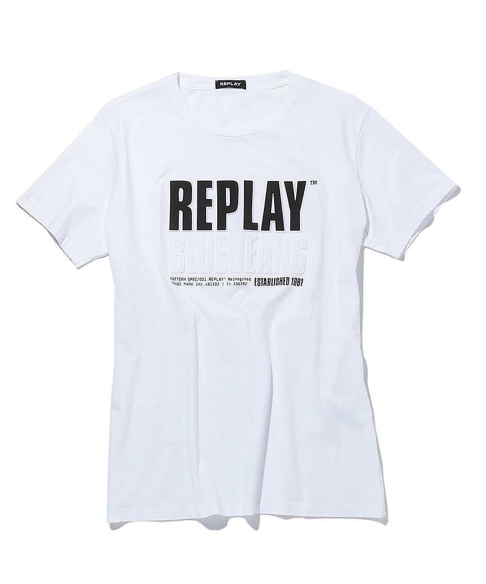 プリントコットンジャージークルーネックTシャツ