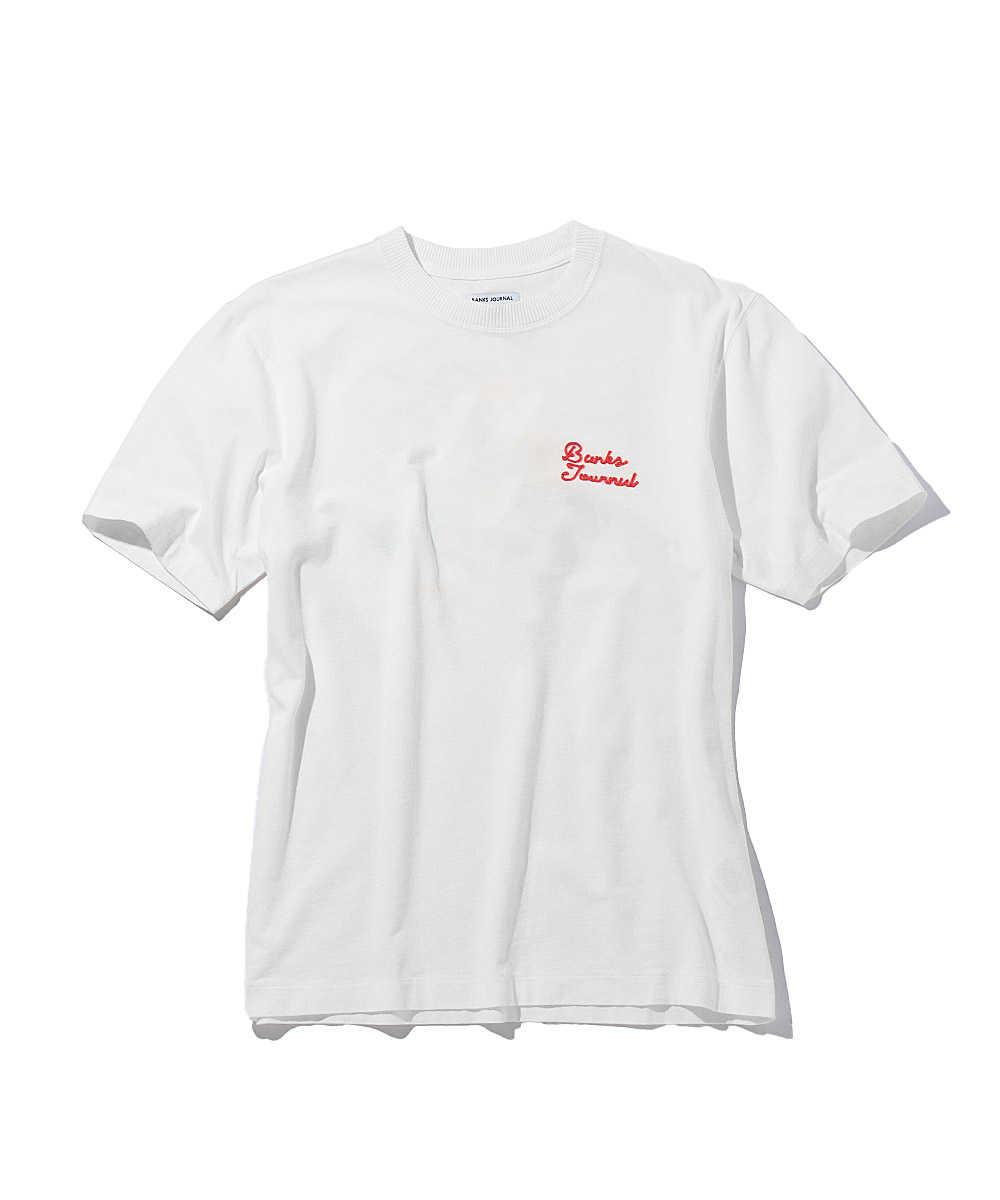 チェーンステッチ刺繍クルーネックTシャツ