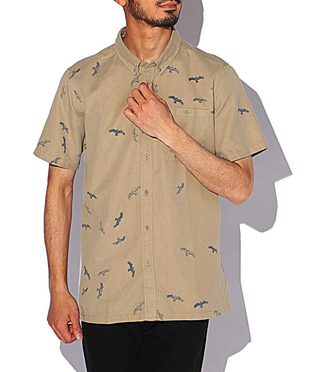 コットンリネン総柄半袖シャツ