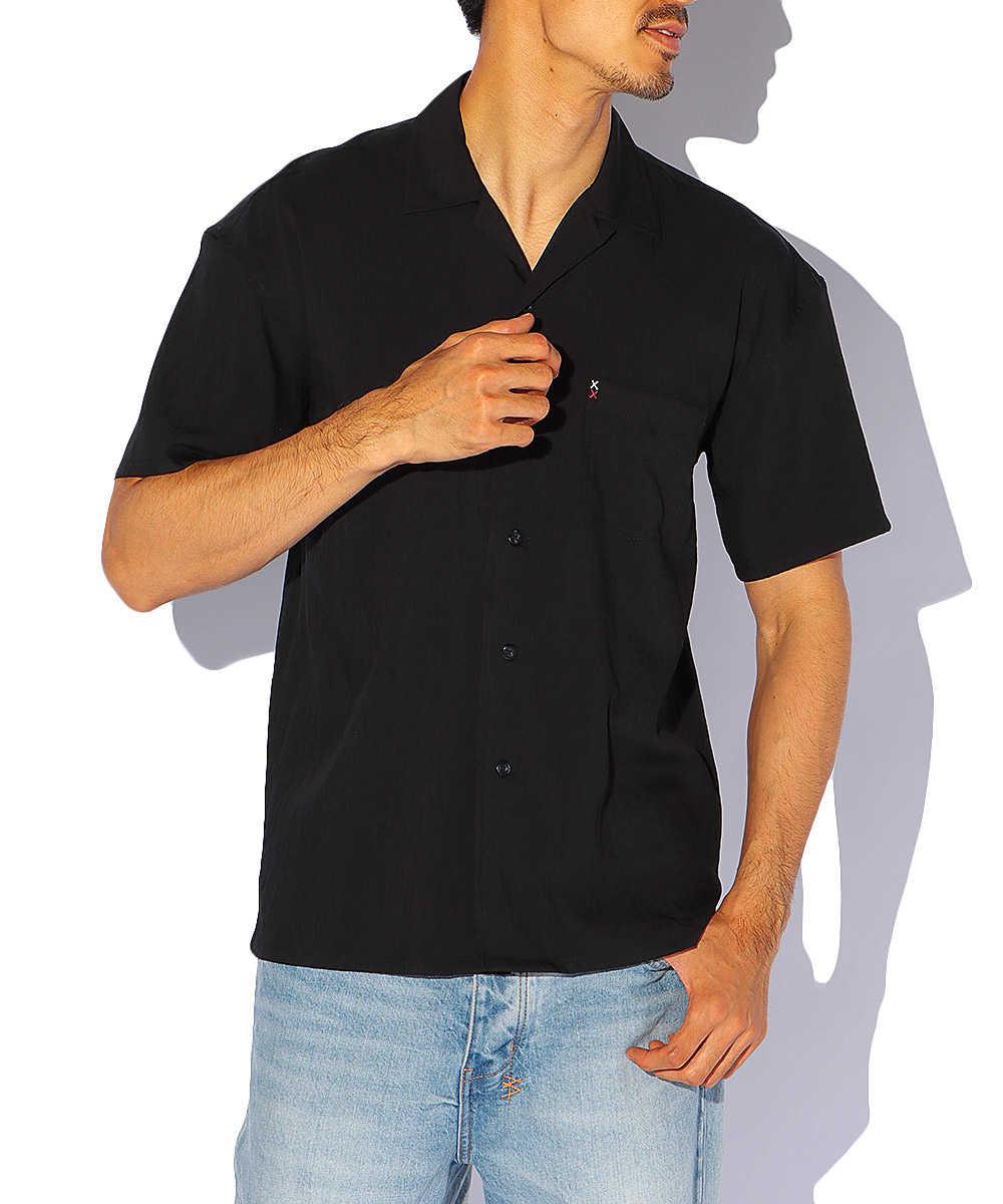 オープンカラーレーヨンシャツ