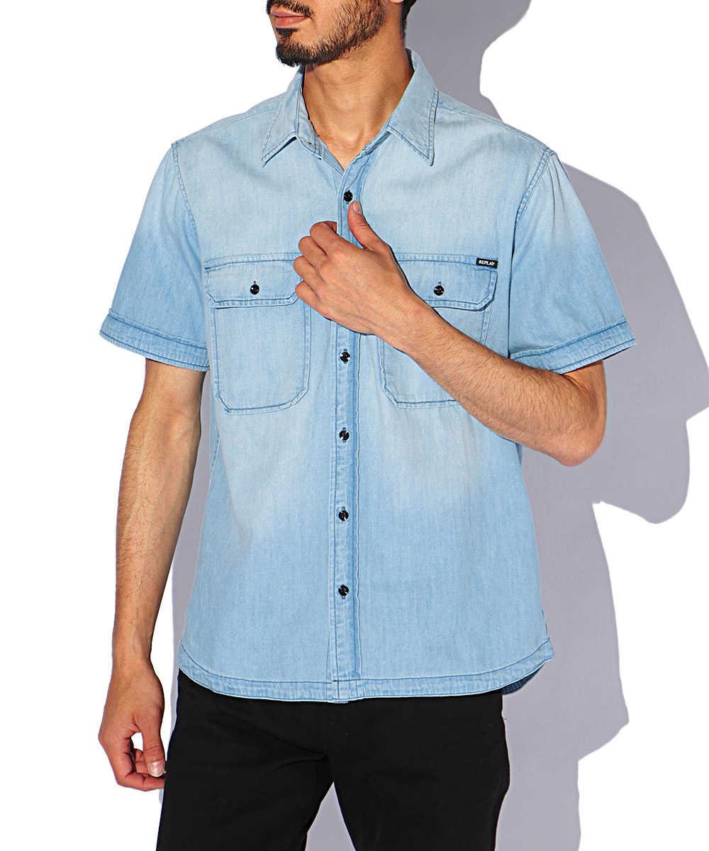 ライトインディゴコットンデニム半袖シャツ