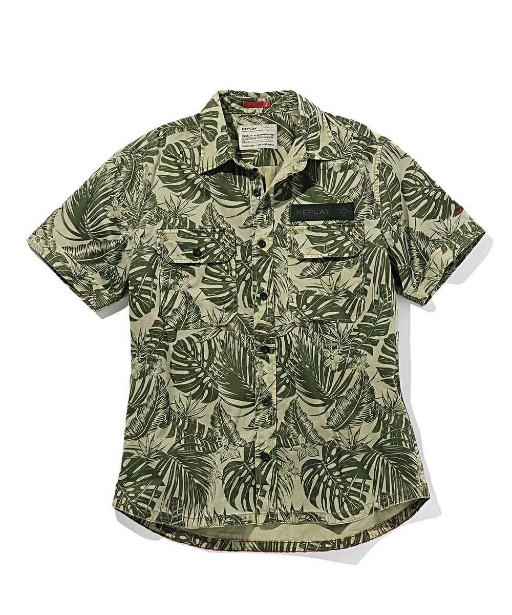 ボタニカルプリントコットンツイル半袖シャツ
