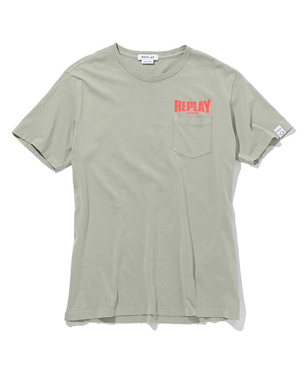 オーガニックコットンジャージーポケットロゴクルーネックTシャツ