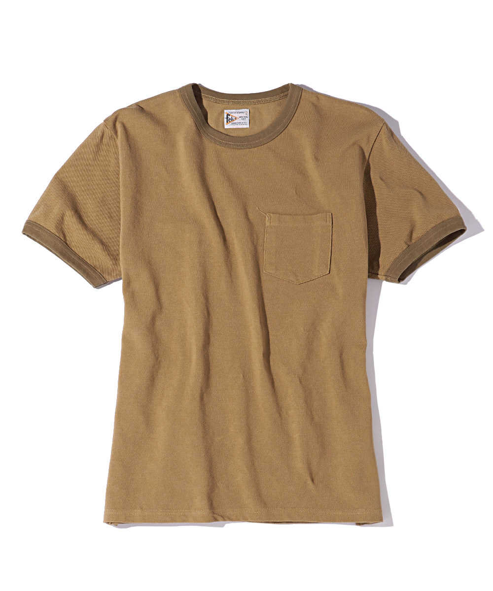 クルーネックピケポケットTシャツ インドコットン