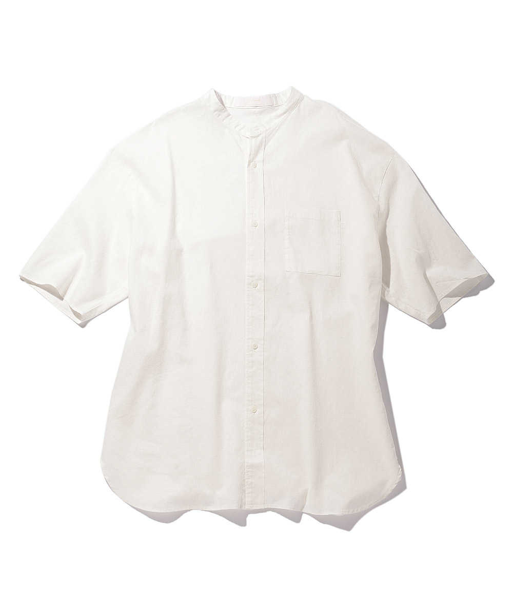 コットンリネンスタンドカラーシャツ