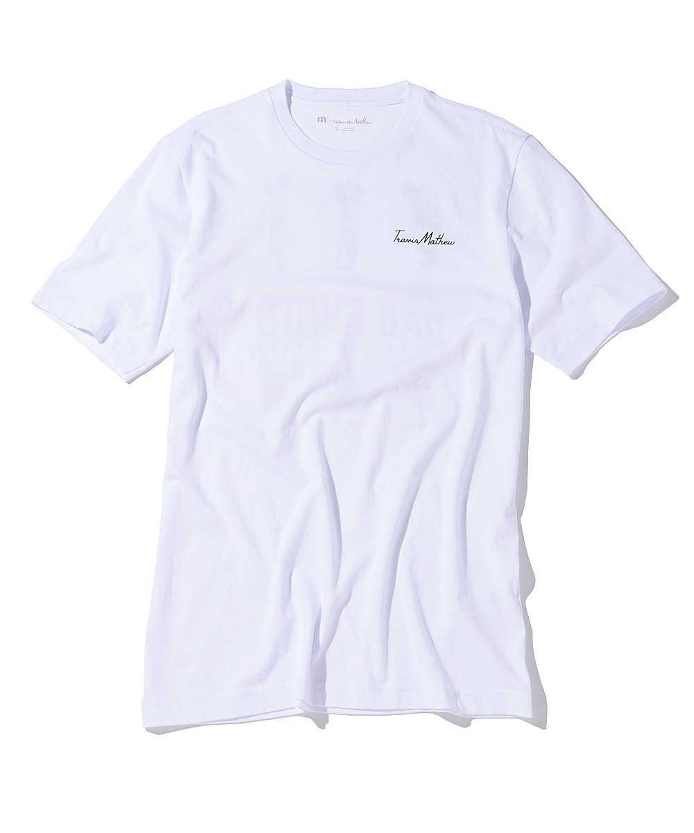 バックグラフィックプリントクルーネックTシャツ
