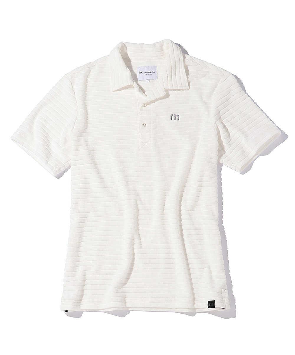 ロゴ刺繍ボーダーポロシャツ