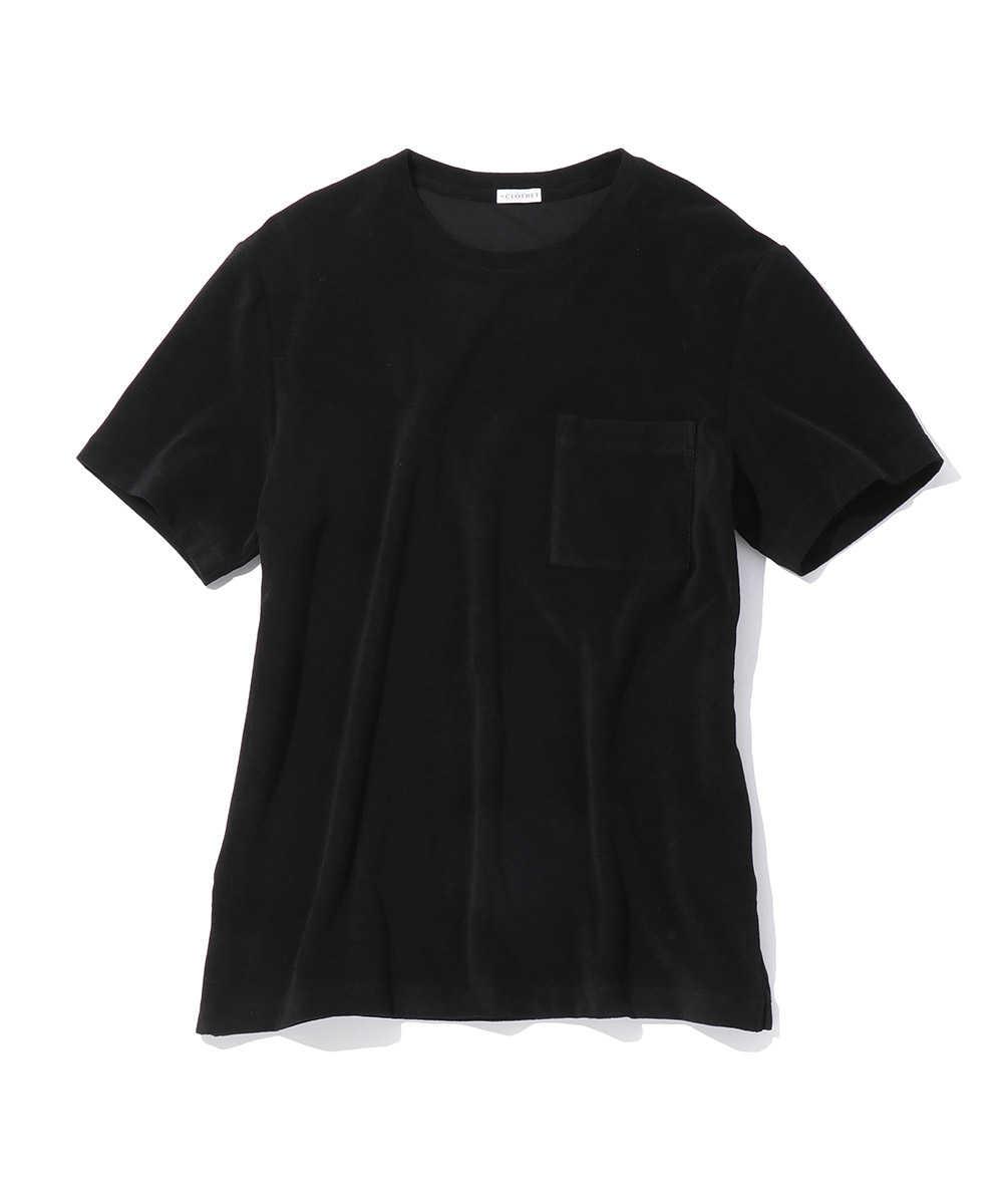 スビンプラチナムマイクロパイルポケットクルーネックTシャツ
