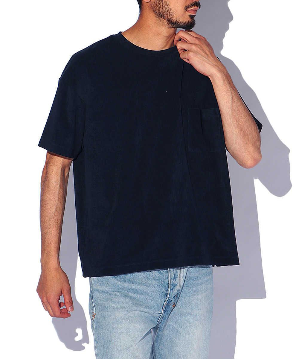 スビンプラチナムマイクロパイルポケットビッグクルーネックTシャツ