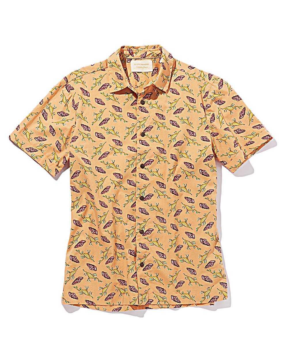 総柄プリント半袖シャツ