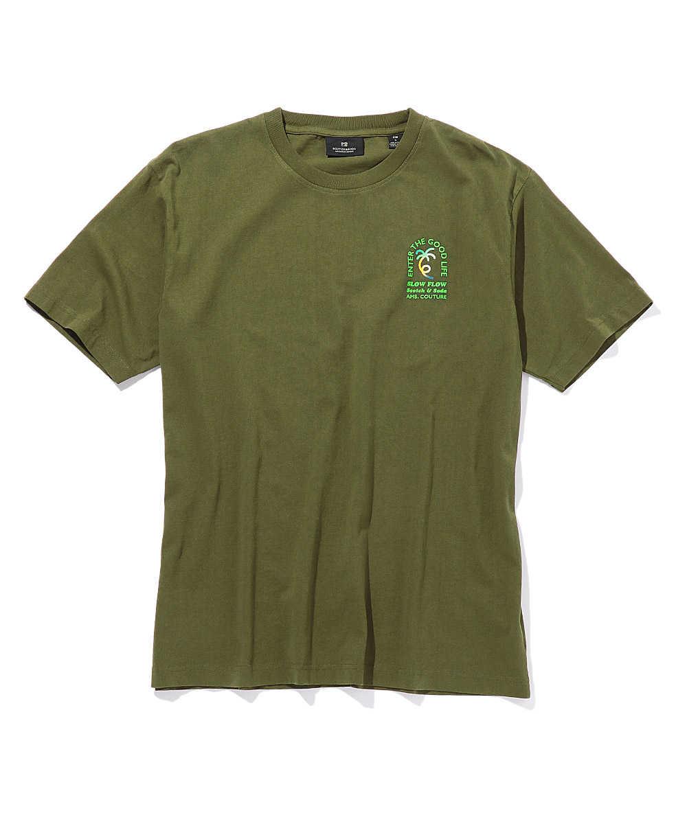 バッグプリントコットンクルーネックTシャツ