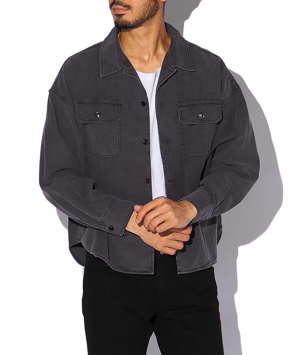 バック刺繍ワイドミリタリーシャツ