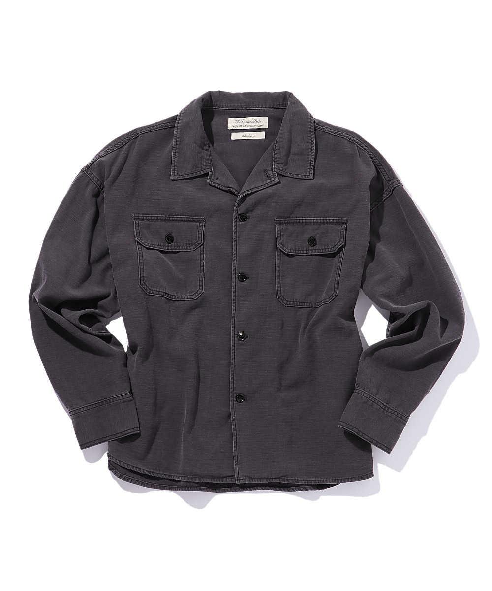 ヤシの木刺繍ミリタリーシャツ