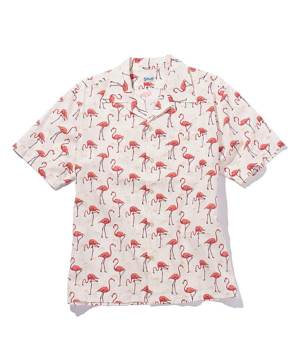 フラミンゴ柄アロハシャツ