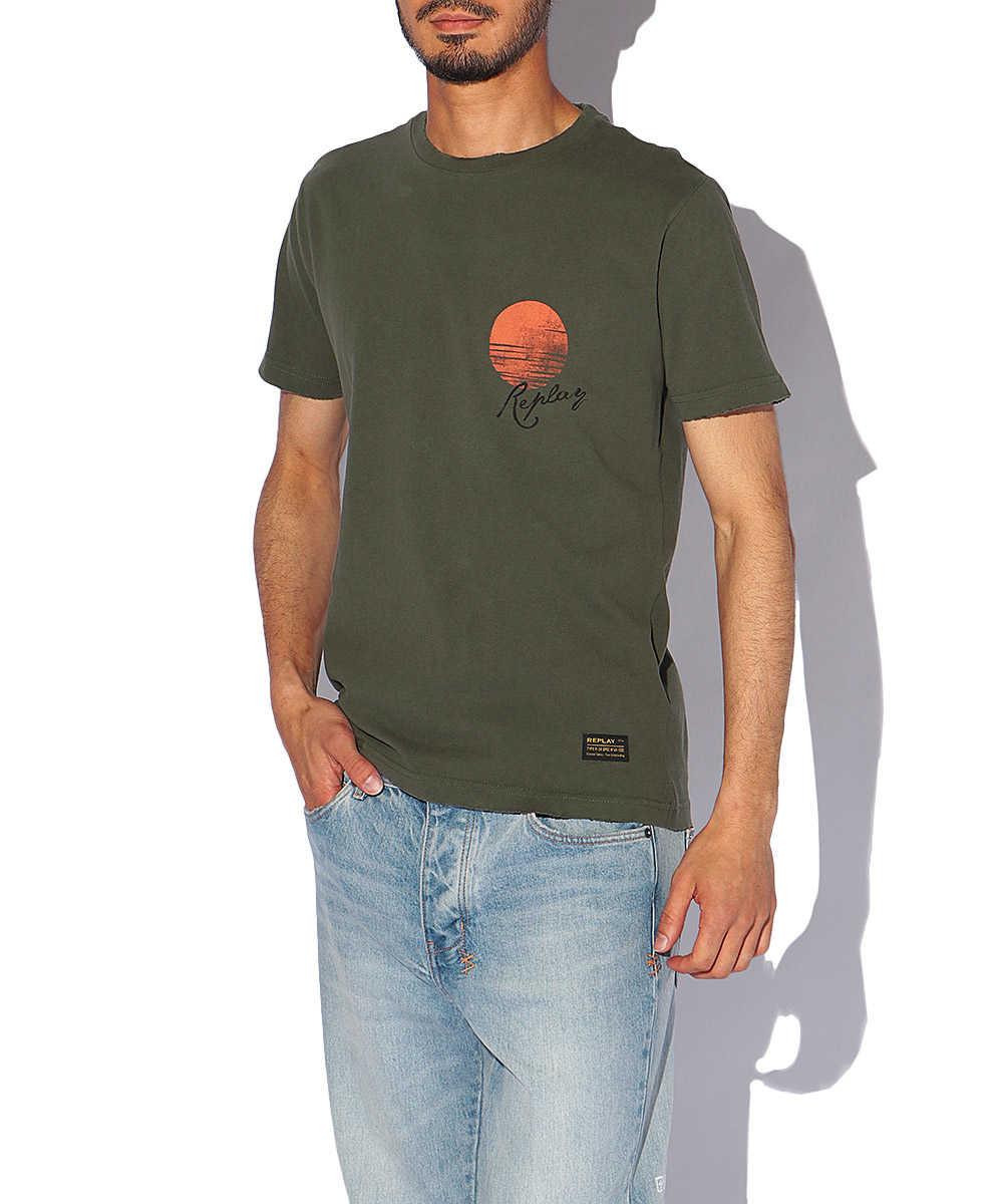 ハンドドライジャージータイガープリントクルーネックTシャツ