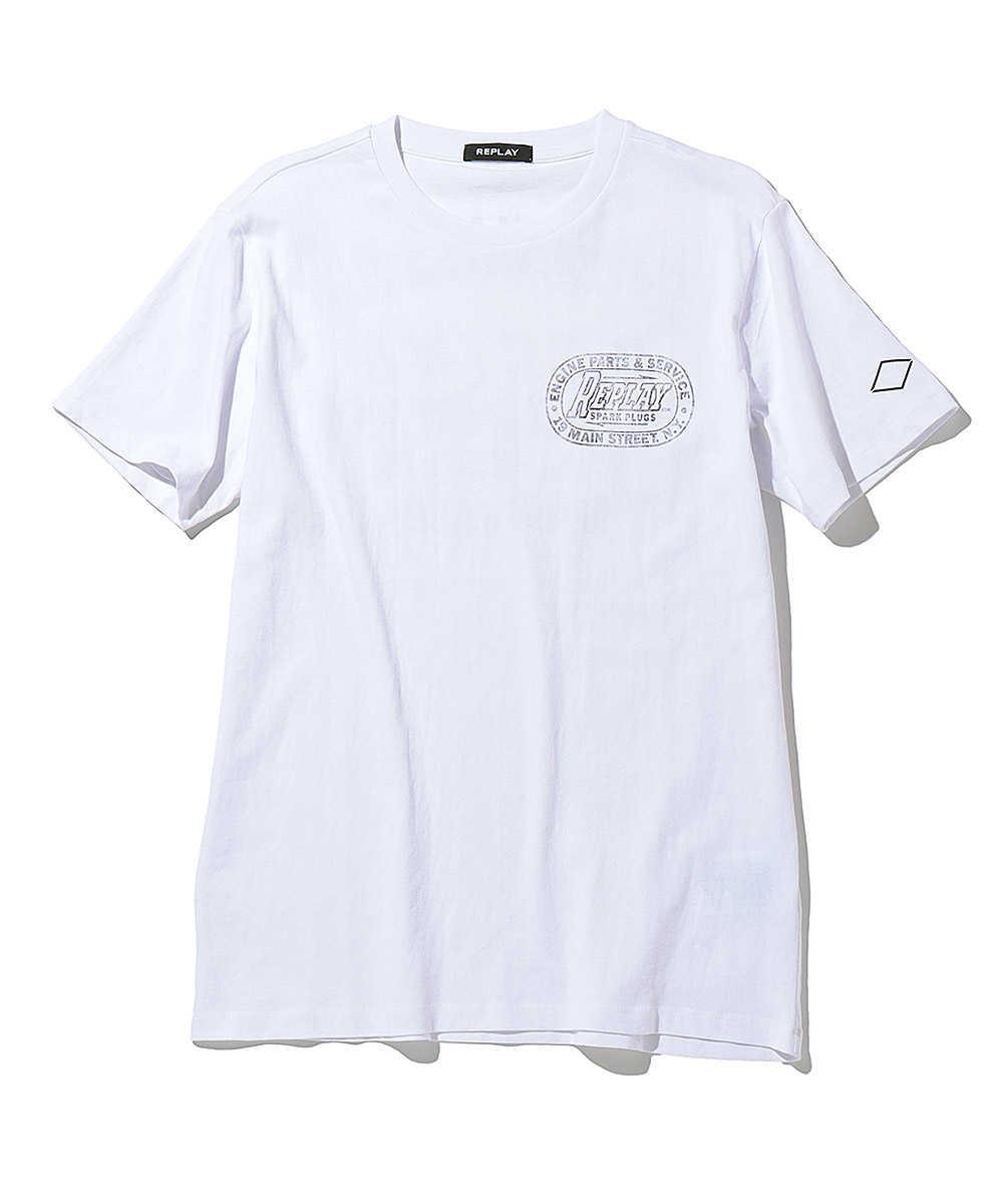 ハンドドライジャージーレーシングプリントクルーネックTシャツ