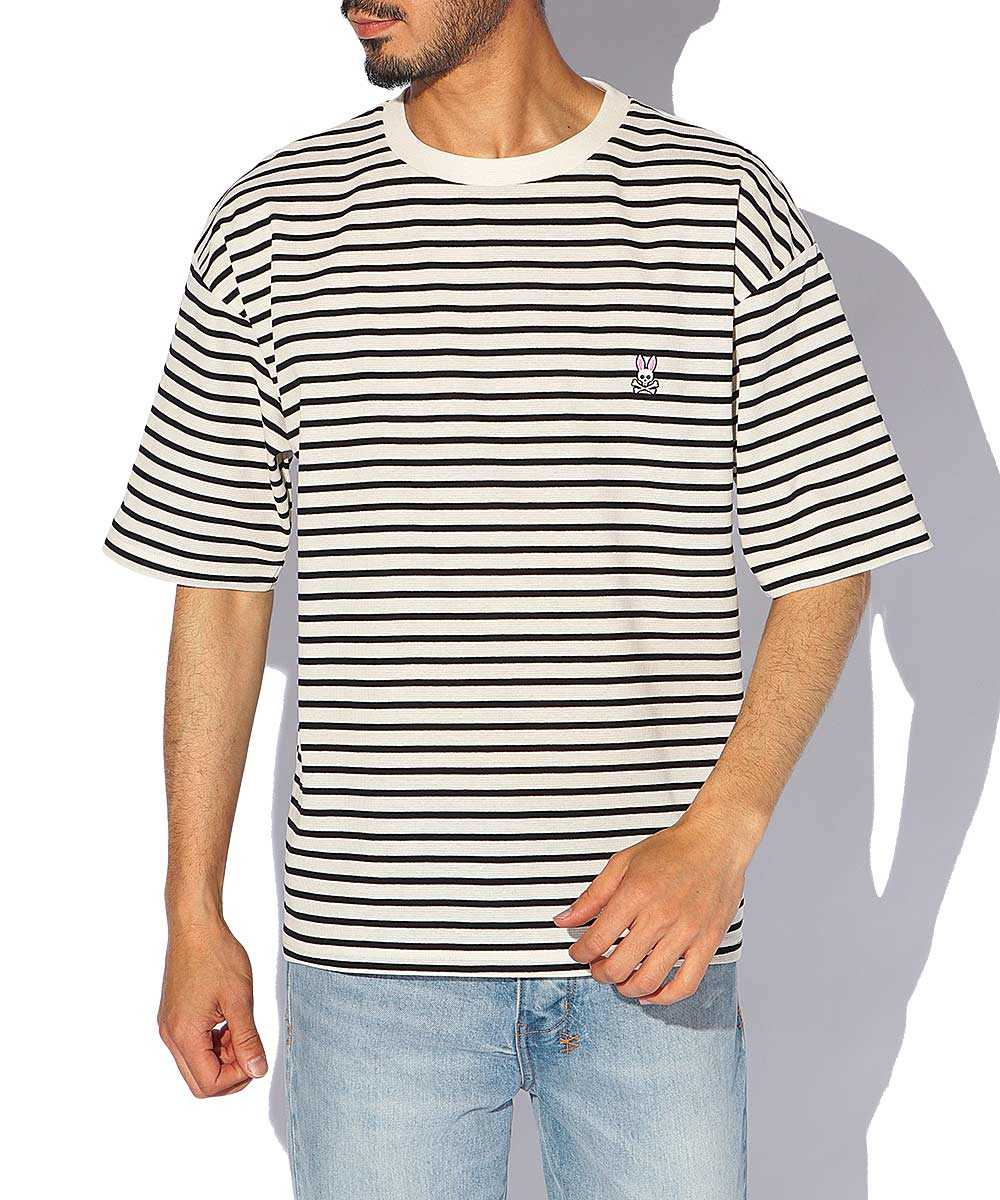 ビッグシルエットボーダークルーネックTシャツ