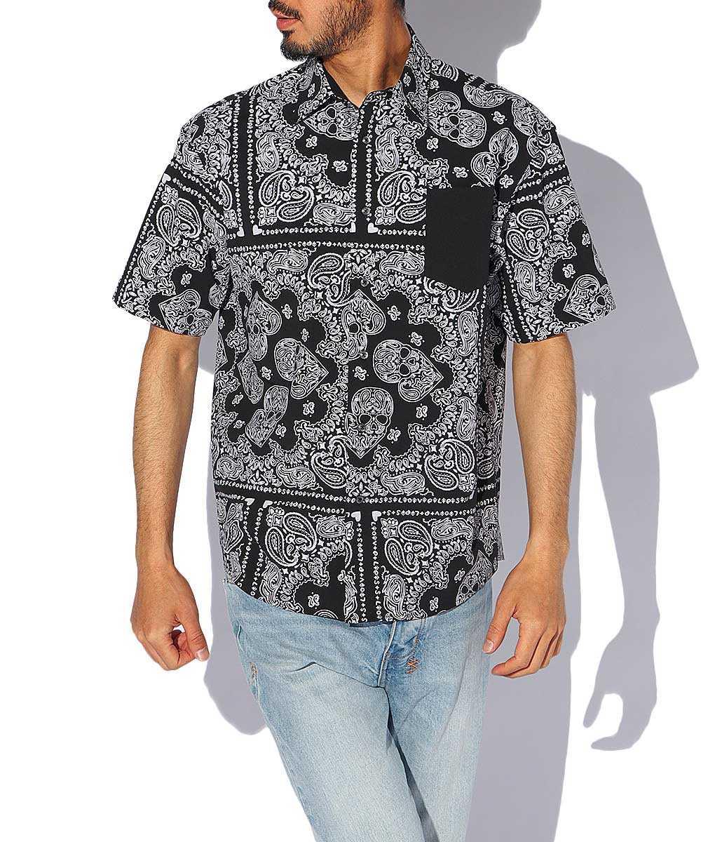 バンダナプリント半袖シャツ