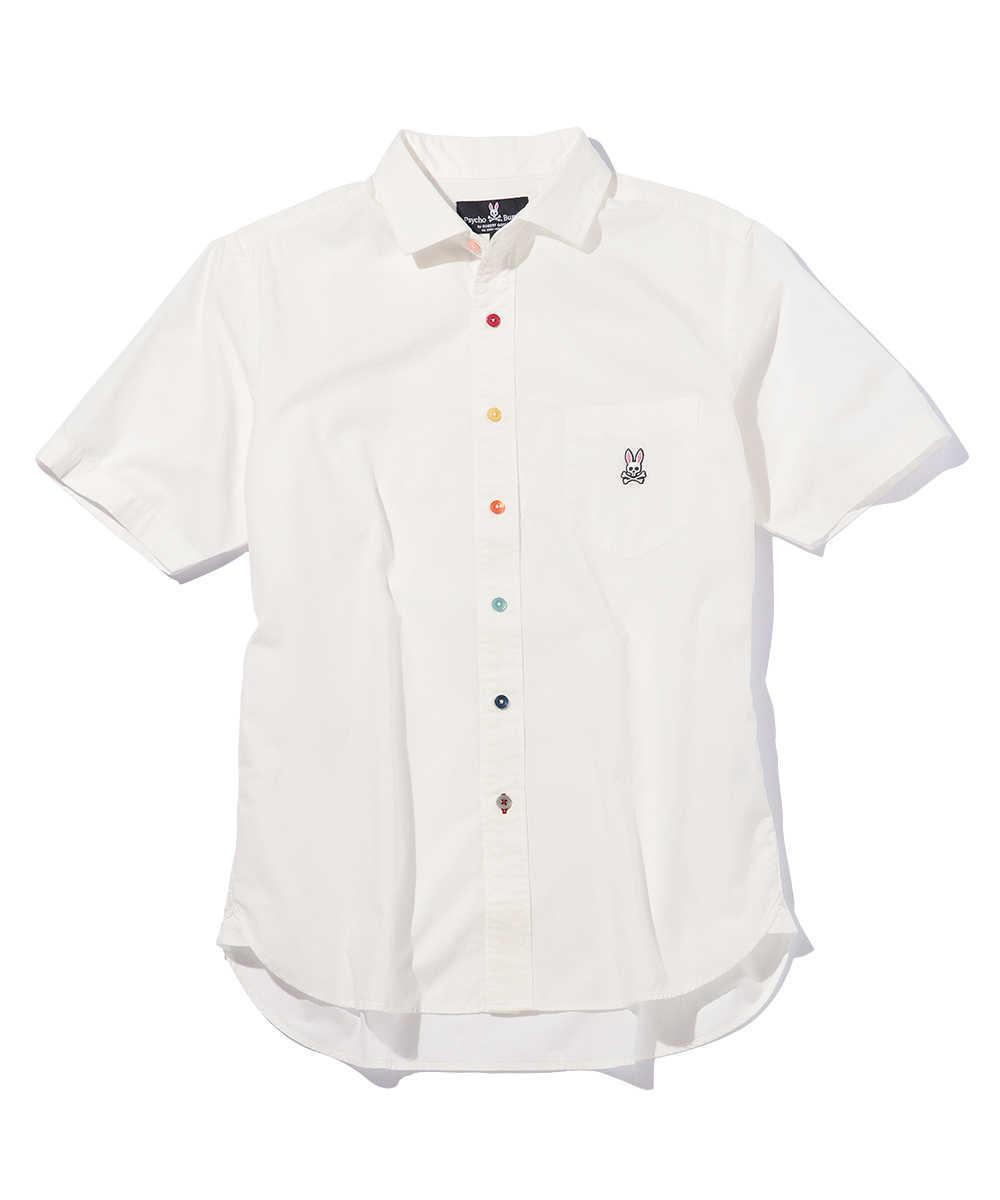 マルチカラーボタンブロードシャツ