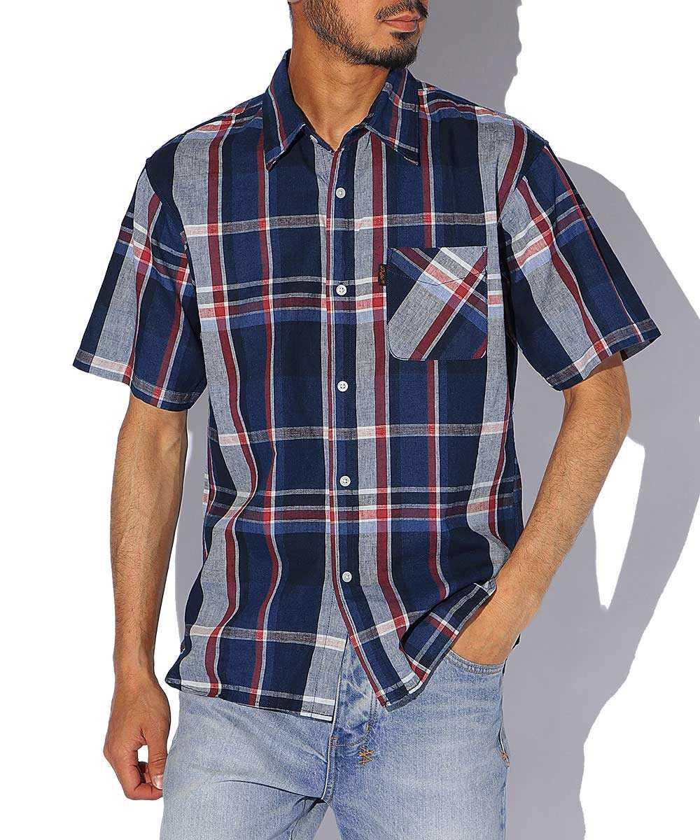 コットンリネンインディゴチェック半袖シャツ