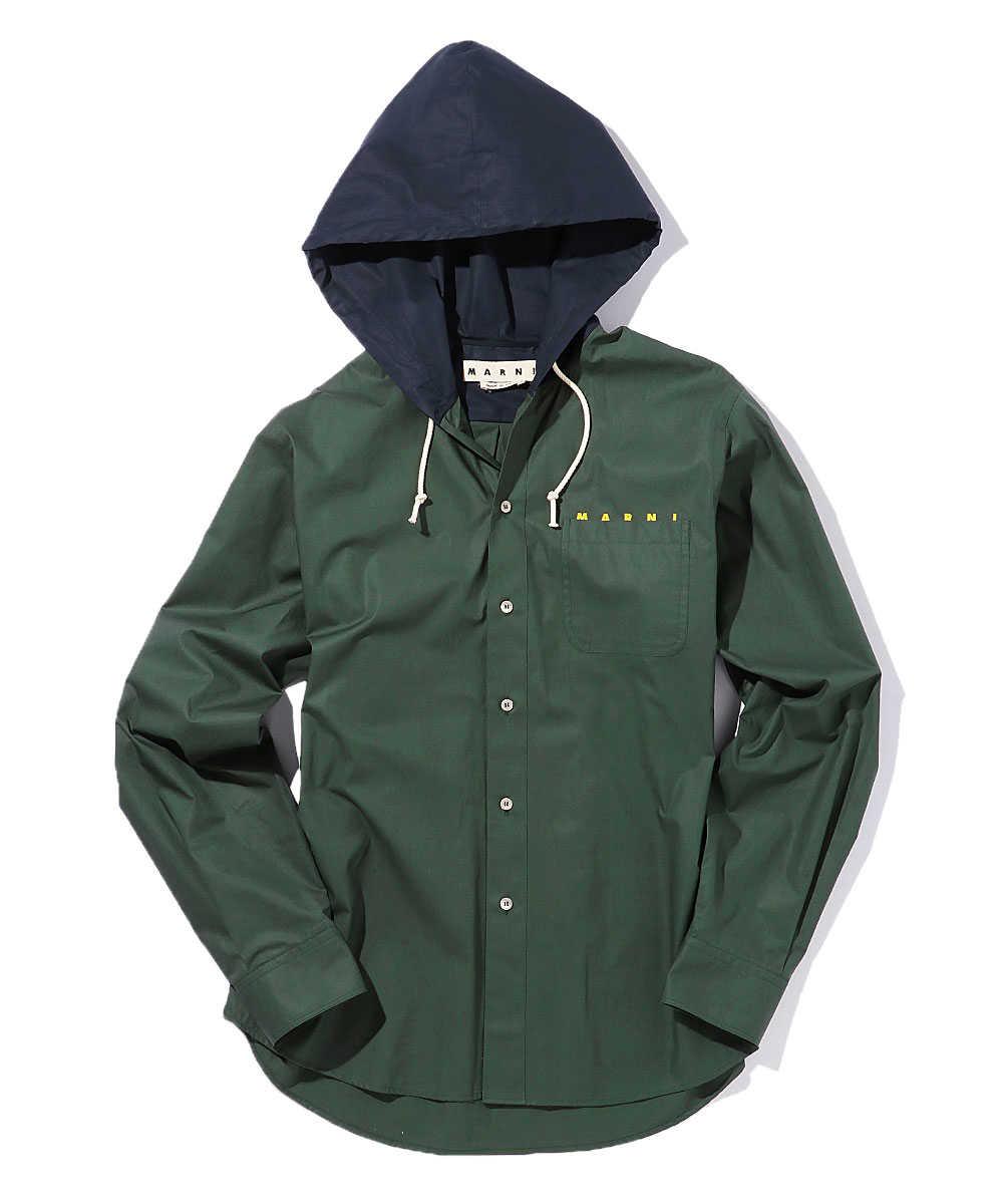 フード付きコットンシャツジャケット
