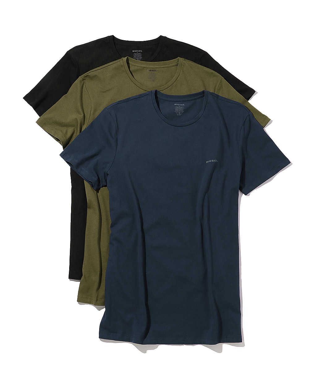3パック ワンポイントロゴクルーネックTシャツ