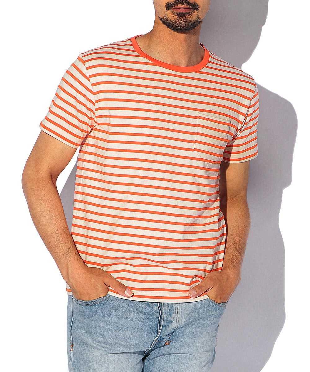 ポケットボーダーポケットクルーネックTシャツ