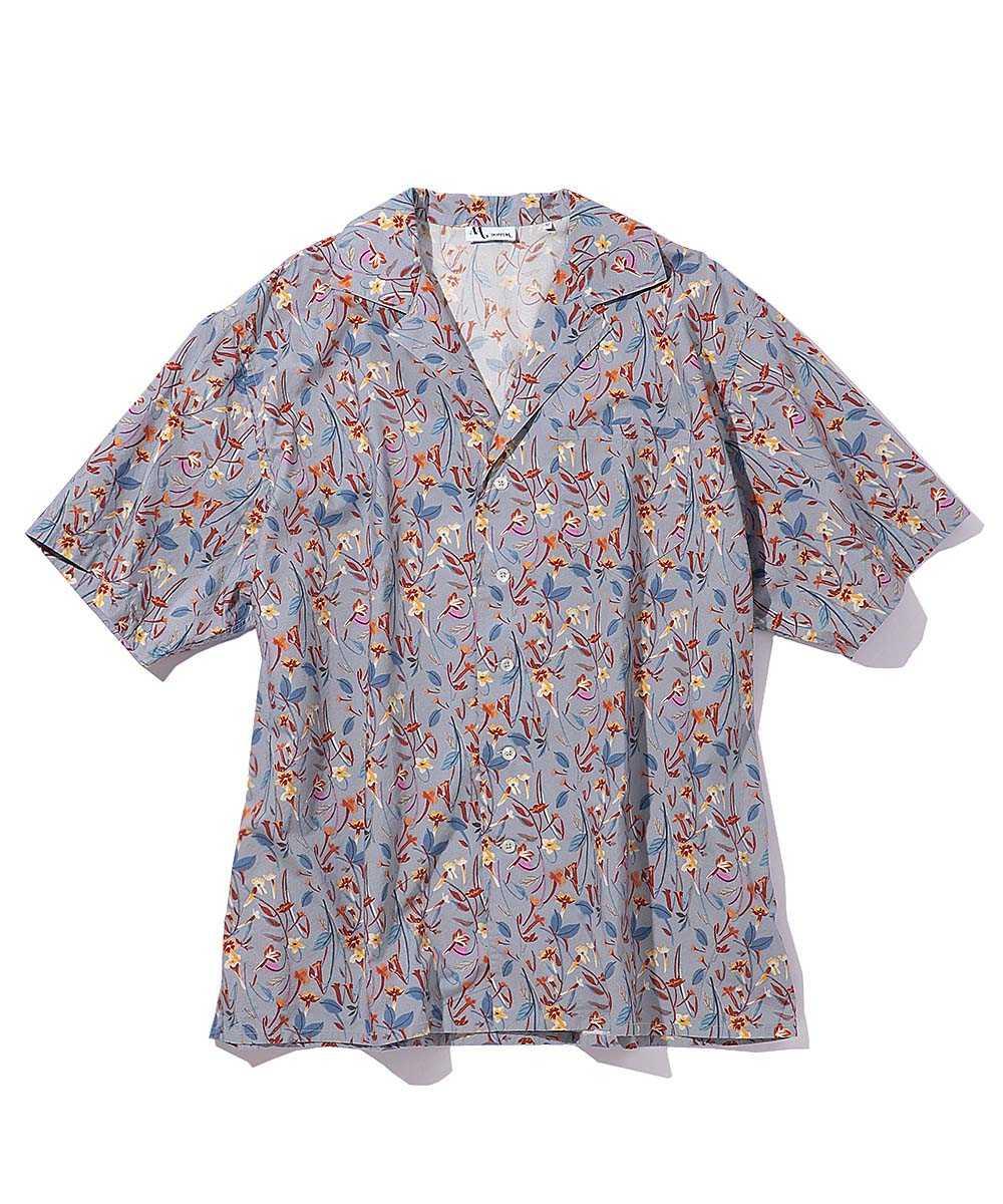 オープンカラープリントシャツ