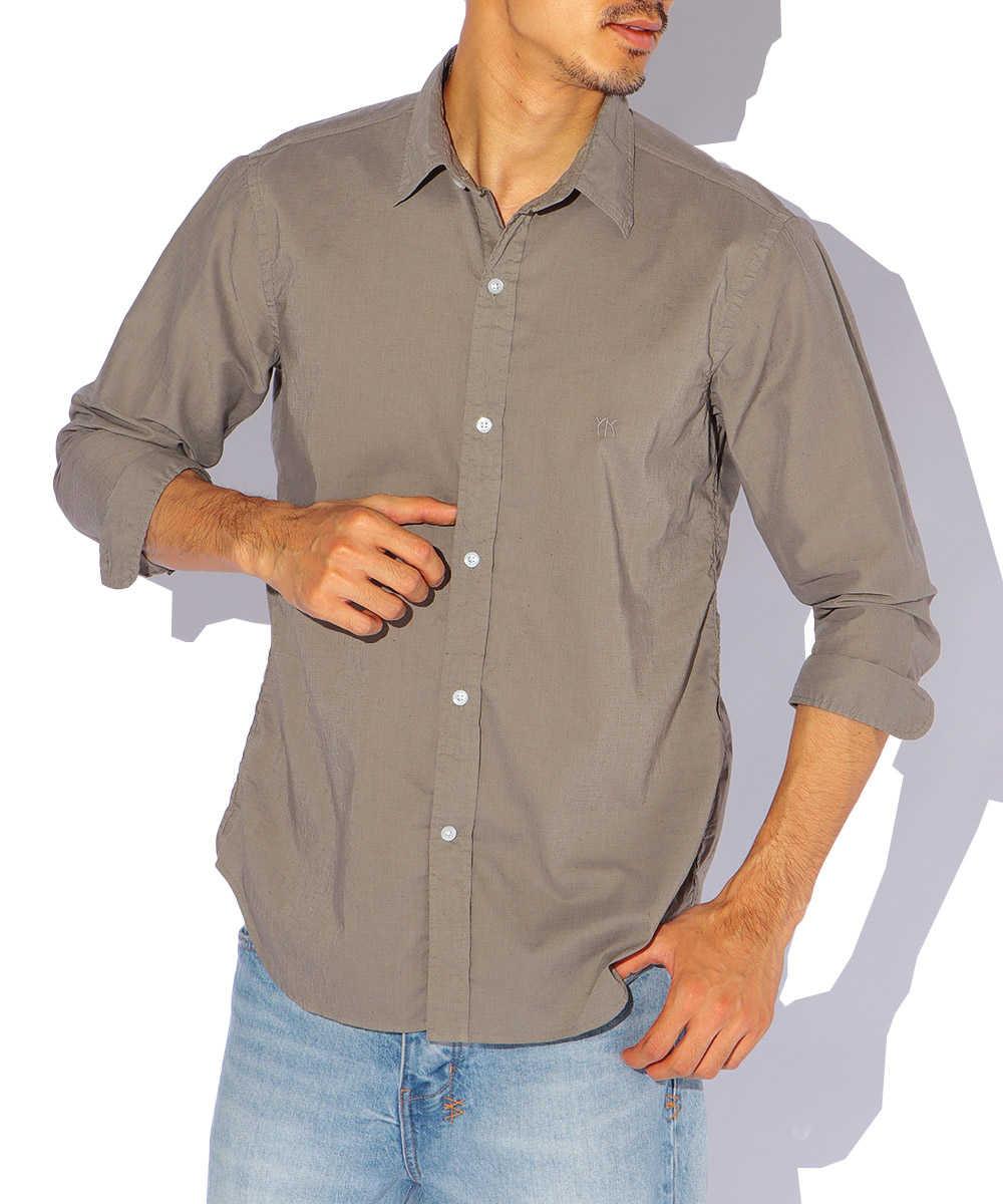ロゴ刺繍ストレッチリネンシャツ