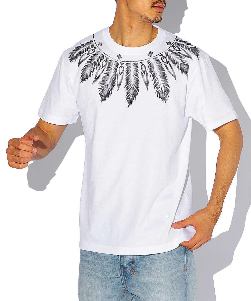 フェザーペイントクルーネックTシャツ