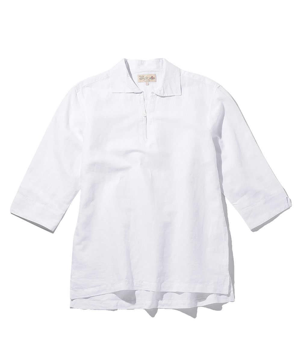 リネン7分袖スキッパーシャツ