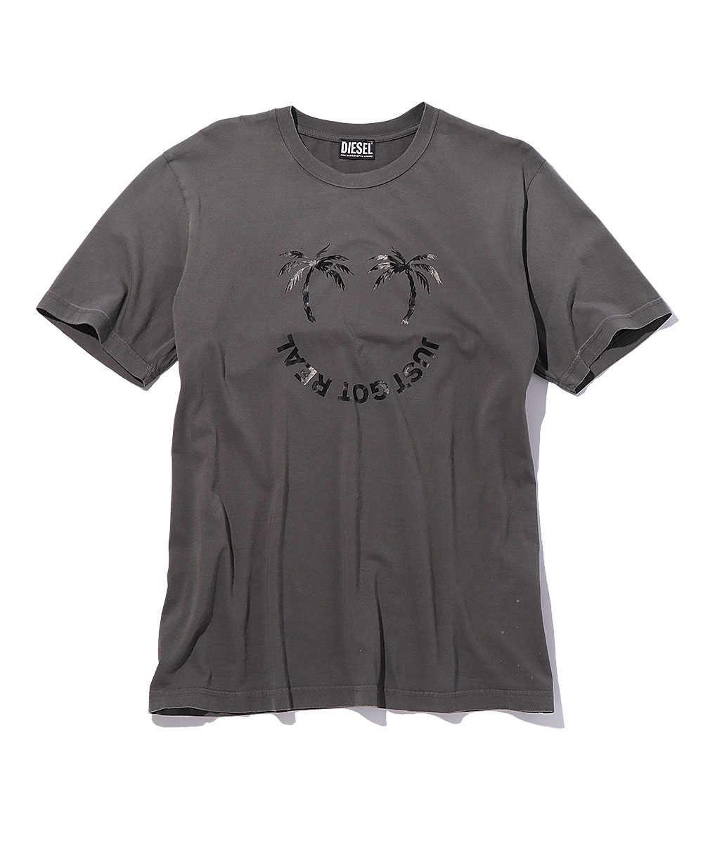 パームツリープリントクルーネックTシャツ