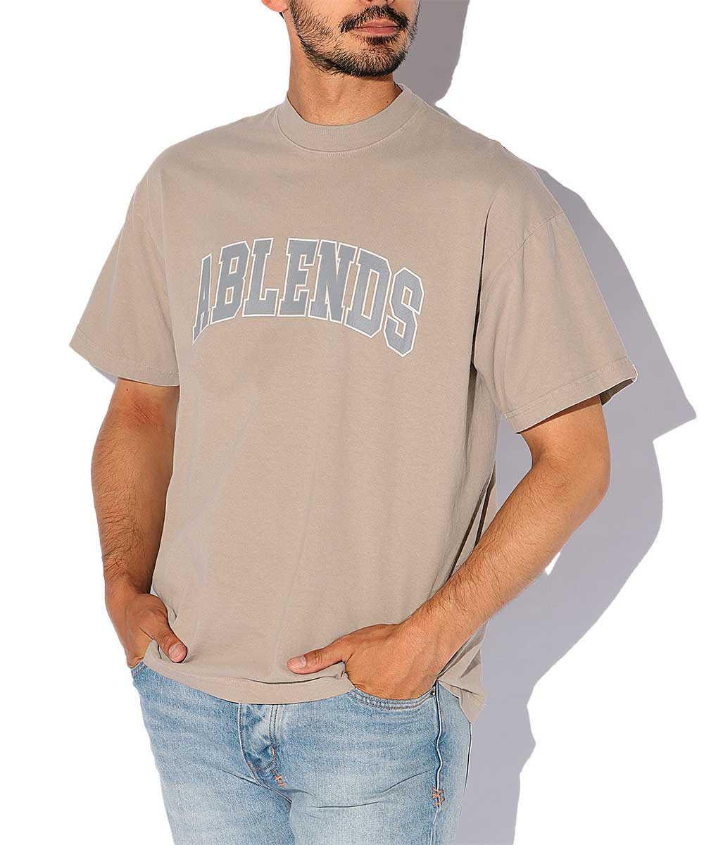 製品染めカレッジロゴプリントクルーネックTシャツ