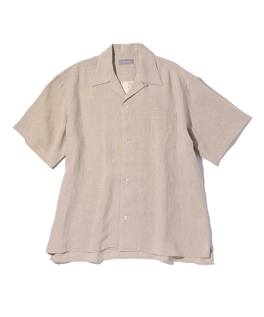 ボックスカットオープンカラー半袖シャツ
