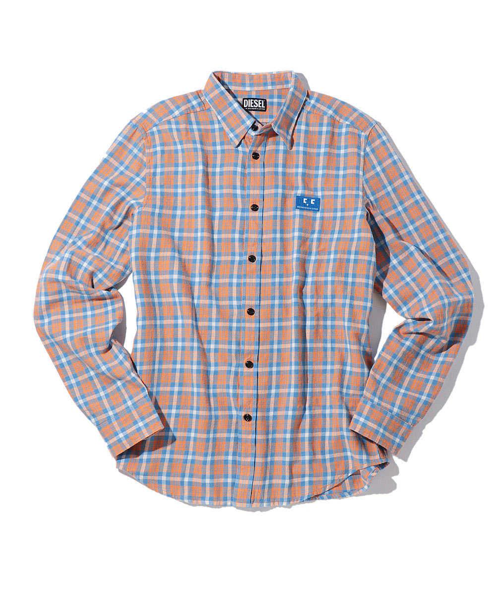 ワッペンロゴマドラスチェックシャツ