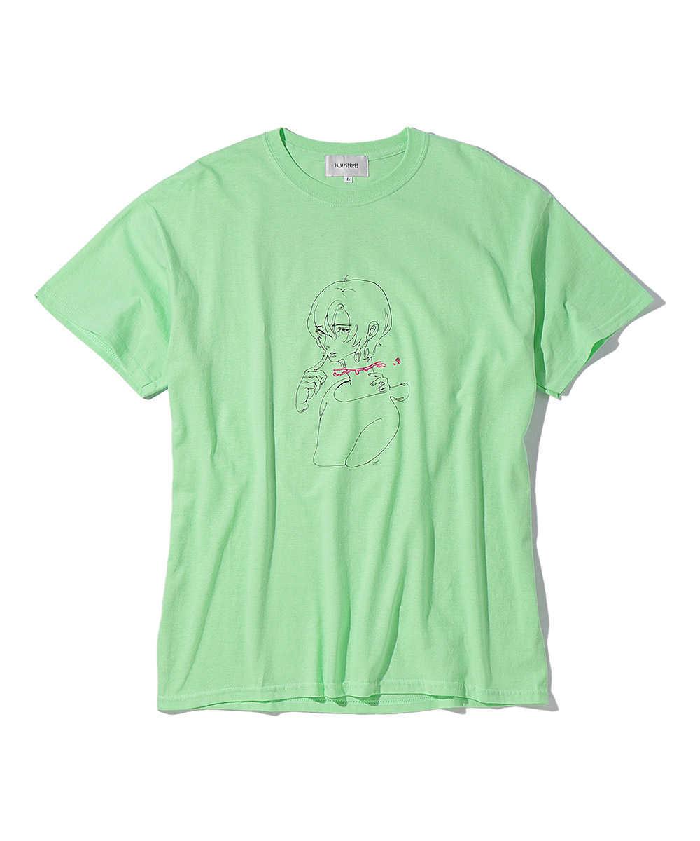 """パームストライプス×藍にいな """"融合し得ない僕たちは""""刺繍クルーネックTシャツ"""