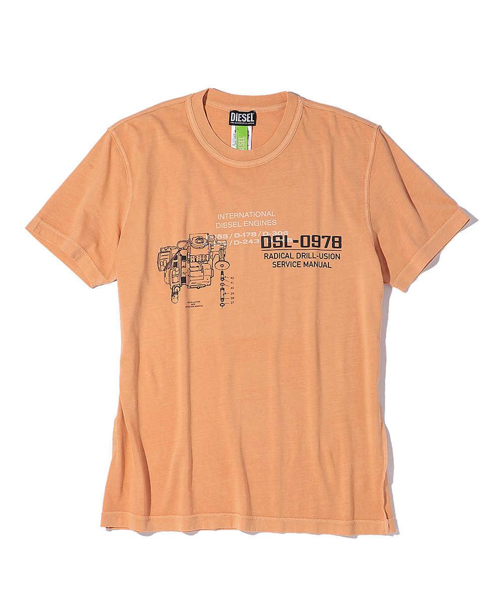 ユーズド加工バックプリントロゴクルーネックTシャツ