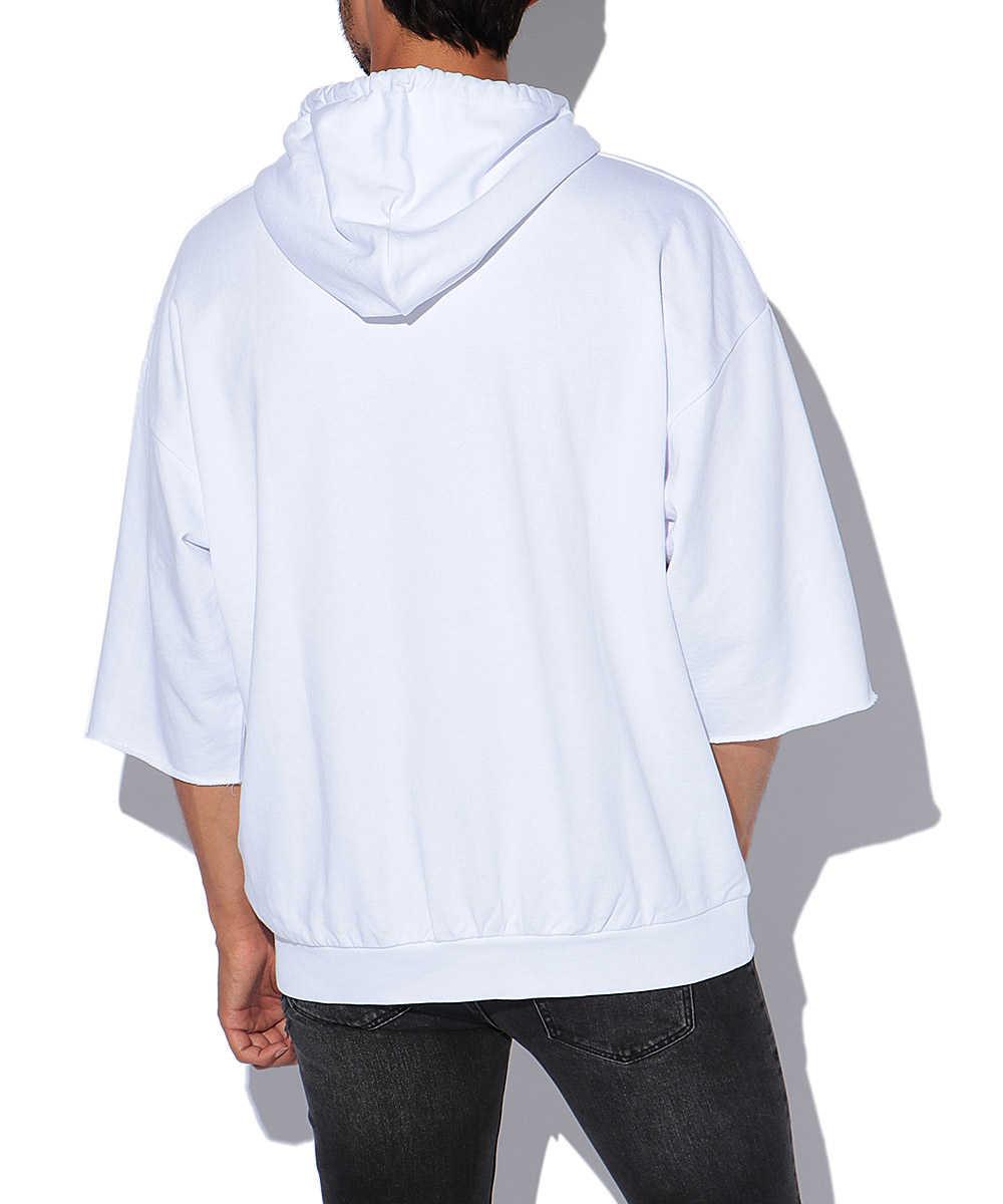 カットオフスリーブ半袖プルオーバーパーカ