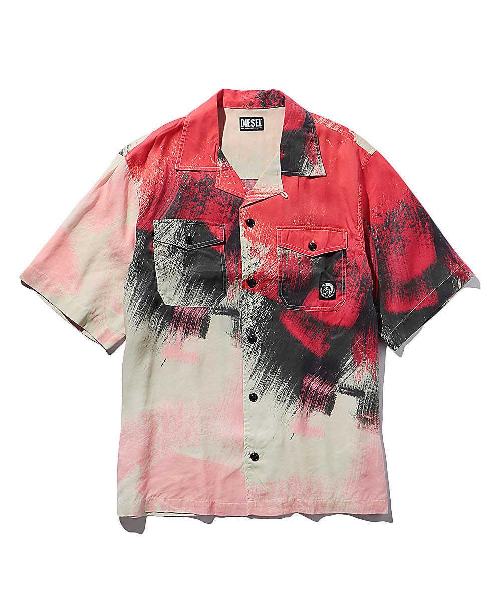 カモフラ柄オープンカラー半袖シャツ