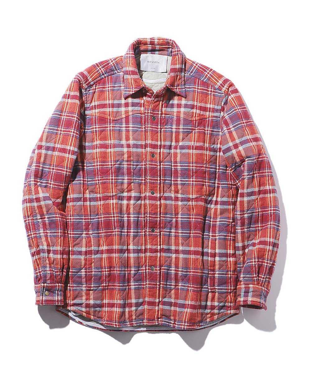 チェック柄キルティングシャツ
