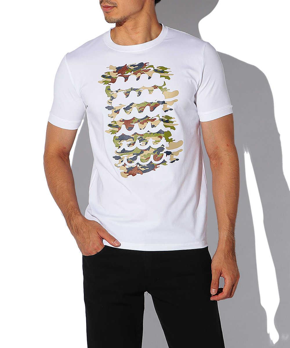 ステンシルカモフラクルーネックTシャツ